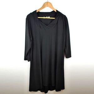 Sympli Black Twist Cowl Neck Tunic Size 18